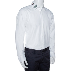 Gucci White Cotton Symbols Embroidered Collar Long Sleeve Shirt XL