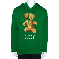 Gucci Green Cotton Jersey Guccy Embroidered Teddy Bear Hoodie M