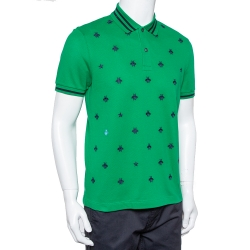 Gucci Green Cotton Pique Bee Embroidered Polo T-Shirt M