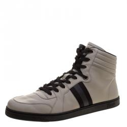 adc1f32e177 Gucci Grey Leather Web Detail High Top Sneakers Size 48.5