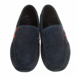 Gucci Navy Blue Suede Web Detail Loafers Size 44