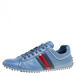 a47bed722a8ca Gucci Europe Exclusive Blue Leather Web Detail Low Top Sneakers Size 44