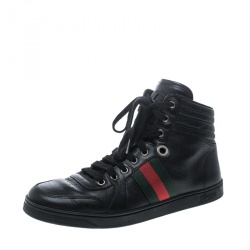 6e80d2c46ed Gucci Black Leather Web Detail High Top Sneakers Size 40.5