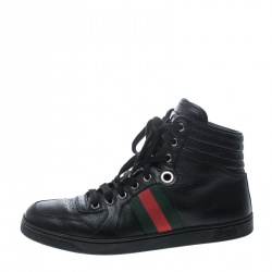 6a50cd90e548 Gucci Black Leather Web Detail High Top Sneakers Size 40.5
