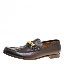 Gucci Dark Brown Leather Bamboo Web Loafers Size 45.5