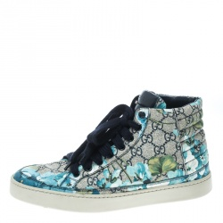 8567da433e17d Gucci Beige and Blue Blooms Printed GG Canvas High Top Sneakers Size 41