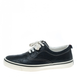 0f9ed35aa1b2 Gucci Navy Blue Guccissima Leather Skippy Low Top Sneakers Size 43.5