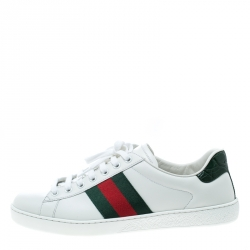 0ef16636489 Gucci White Leather Croc Trim Web Detail Ace Low Top Sneakers Size 42