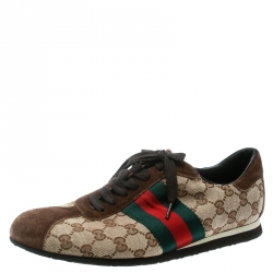 be4cb8b964f40a Gucci Beige GG Canvas and Brown Suede Web Detail Sneakers Size 40.5