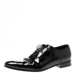 42ea31222 Gucci Black Patent Leather Lace Up Oxfords Size 44