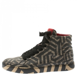 7371d7f1d39 Gucci Beige And Brown Monogram Canvas Caleido High Top Sneakers Size 42.5