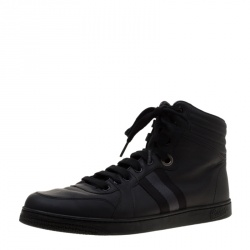 121cc12030af4 Gucci Black Leather Gucci Viaggio Web Detail High Top Sneakers Size 42