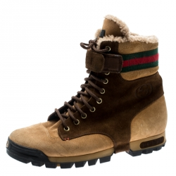 886f8141c Sold. Gucci Beige/Brown Suede Lace Up Shearling Lined Combat Boots Size 42