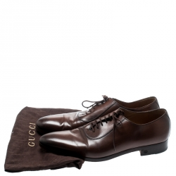 Gucci Brown Leather Lace Up Oxfords Size 44.5