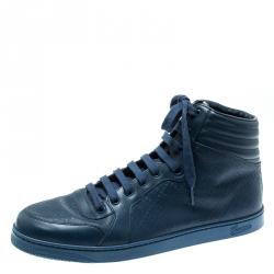 4e18abdcae9 Gucci Blue Leather Diamante High Top Sneakers Size 43.5