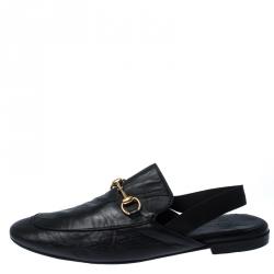 Gucci Black Horsebit Leather Princetown Slingback Mules Size 45