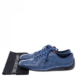 Gucci Blue Leather Guccissima Low Top Sneakers Size 43.5
