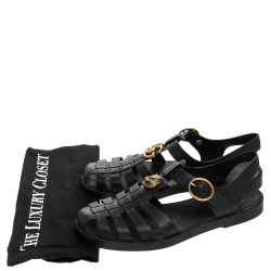 Gucci Black Rubber Marmont And Tiger Embellished Buckle Strap Sandals Size 40
