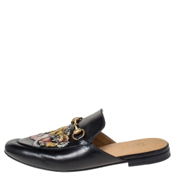 Gucci Black Tiger Embroidered Leather Princetown Horsebit Mules Size 40.5