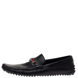 500 By Gucci Black Leather Horsebit Web Detail Driver Loafers Size 45