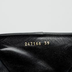 Gucci Black Leather Mid Calf Platform Boots Size 39