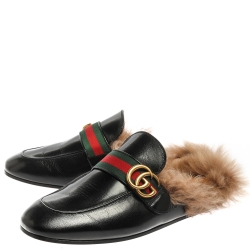 Gucci Black Leather and Fur Lined GG Web Princetown Mules Size 41.5