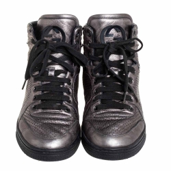 Gucci Metallic Grey Leather High-Top Sneakers Size 37