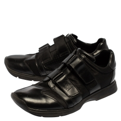 Gucci Black Leather And Mesh Double Velcro Sneakers Size 45