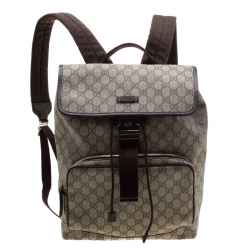 7790cc21a12a28 Gucci Beige/Brown GG Canvas and Leather Medium Flaptop Backpack