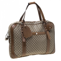 Gucci Beige/Tan Diamante Canvas and Leather Zip Pocket Briefcase