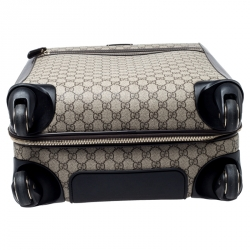 Gucci Beige/Brown Supreme Canvas Four Wheel Carry-On Suitcase