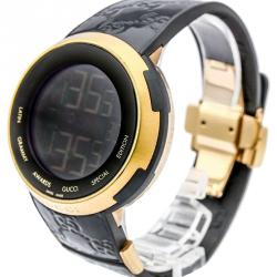 Gucci Black Gold-Plated Steel and Rubber I-Gucci Men's Wristwatch 49MM