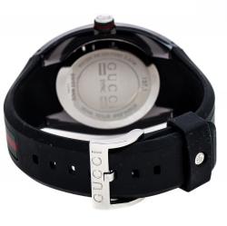 Gucci Black Transparent Nylon Stainless Steel Sync YA137101 Men's Wristwatch 46 mm
