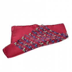 Hermes Red Horse Carriage Printed Silk Pocket Square