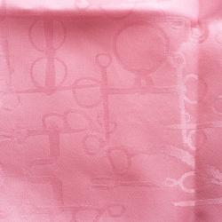 Hermes Pink Horsebit Pattern Silk Jacquard Pocket Square