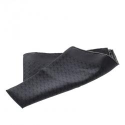 Hermes Charcoal Grey Horsebit Printed Silk Pocket Square