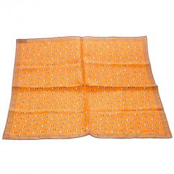Hermes Orange Equestrian Fence Printed Silk Pocket Square