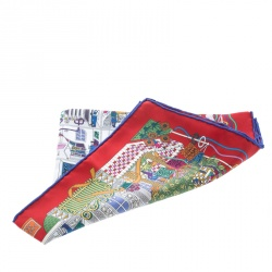 Hermes La Maison Des Carres Red Printed Silk Pocket Square
