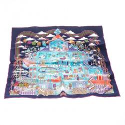 Hermes Navy Blue La Maison Des Carres Printed Silk Pocket Square