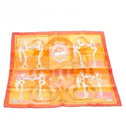 Hermes Della Cavalleria Orange Printed Silk Pocket Square
