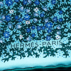 Hermes Blue and Green Floral Printed Silk Pocket Square