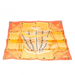 Hermes Orange Brandebourgs Military Printed Silk Pocket Square