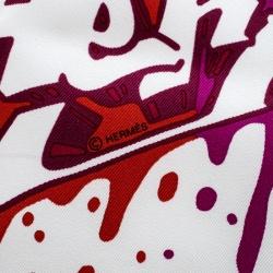 Hermes Multicolor Kongo Graffiti Printed Silk Pocket Square