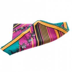 Hermes Multicolor Striped Equestrian Horse Race Print Silk Pocket Square