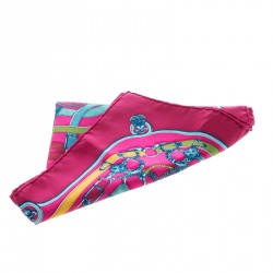 Hermes Multicolor Cavalcadour Printed Silk Pocket Square