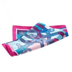 Hermes Multicolor Della Cavalleria Printed Silk Pocket Square