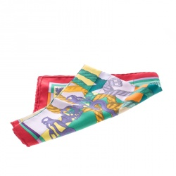 Hermes Multicolor Della Cavalleria Printed Silk Pocket Square