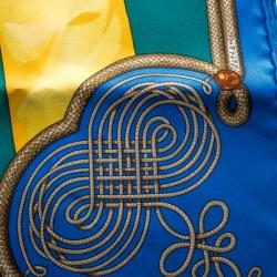 Hermes Multicolor Brandebourgs Military Printed Silk Pocket Square