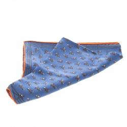Hermes Blue Equestrian Fence Printed Silk Pocket Square