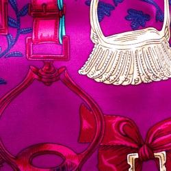 Hermes Pink Etriers Printed Silk Pocket Square